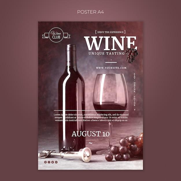 ユニークなワインテイスティングポスターテンプレート 無料 Psd