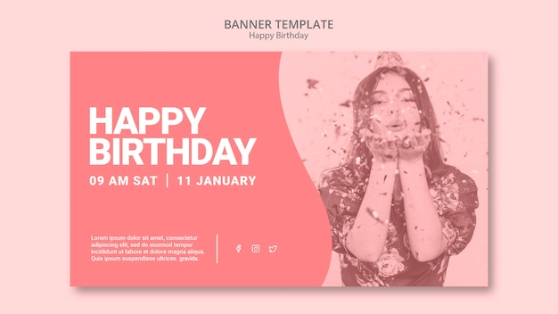 С днем рождения баннер шаблон Бесплатные Psd