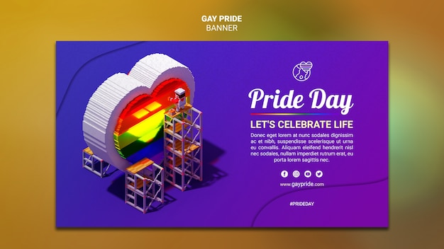 Красочный баннер шаблон гей-прайд Бесплатные Psd