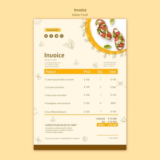 イタリア料理の請求書デザイン 無料 Psd