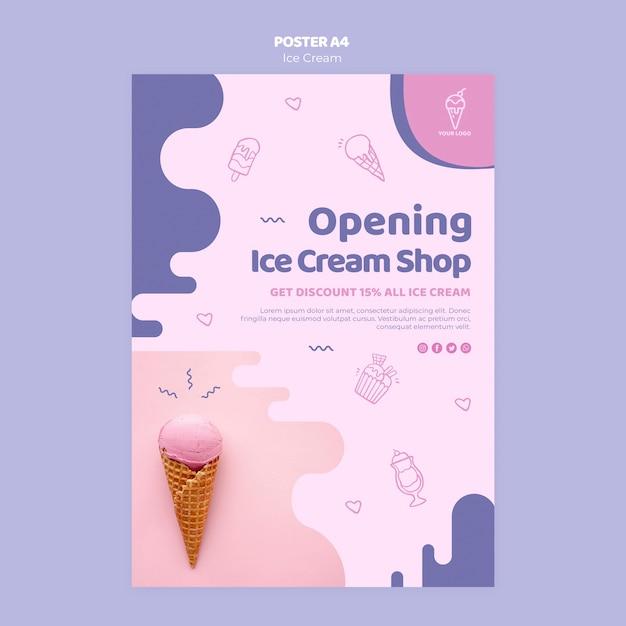 Открытие магазина дизайна мороженого Бесплатные Psd