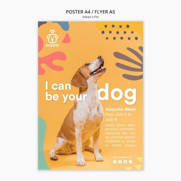 Принять стиль постера для домашних животных Бесплатные Psd