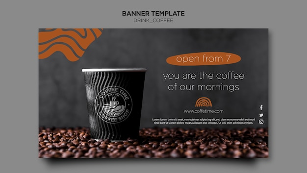 Шаблон кофейного баннера Бесплатные Psd