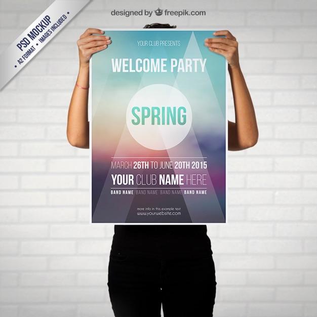 春のパーティーポスターモックアップ 無料 Psd