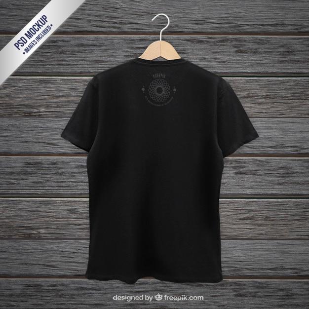 Черная футболка назад макет Бесплатные Psd
