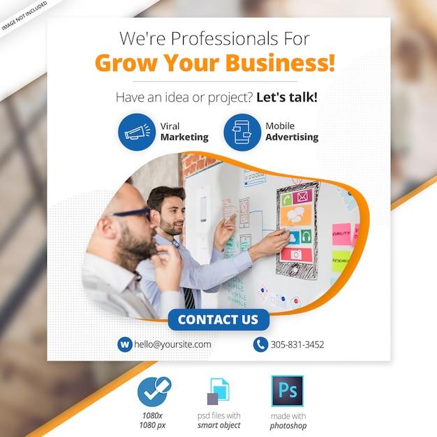 Бизнес маркетинг социальные медиа веб баннер Premium Psd