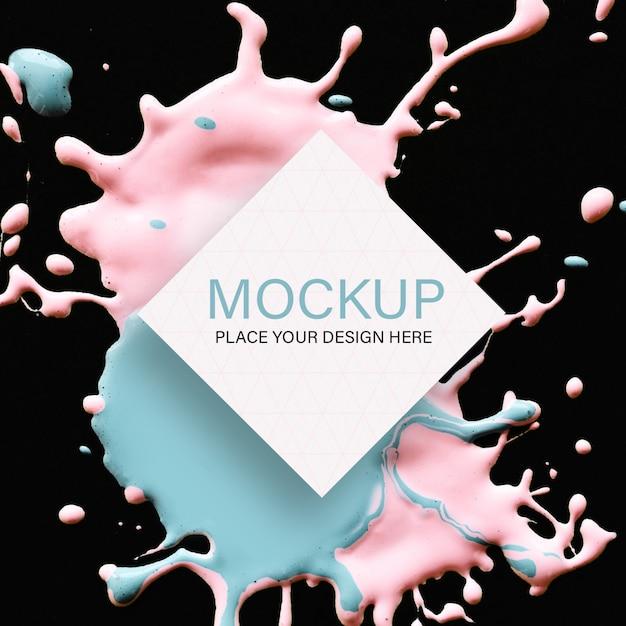 黒地にピンクとブルーの液体色の幾何学的なモックアップ 無料 Psd