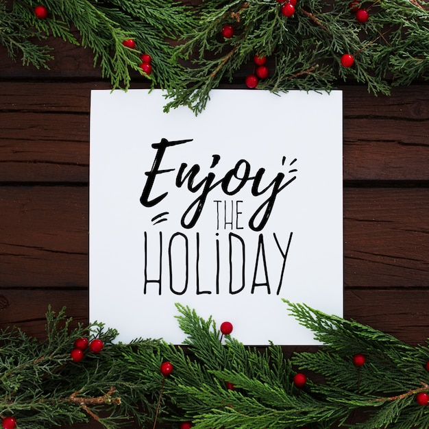 Рождественская елка оставляет композицию с чистого листа Бесплатные Psd