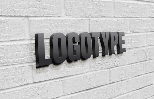 レンガの壁にロゴタイプのテンプレート Premium Psd