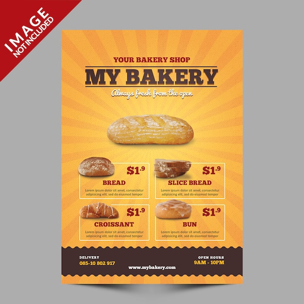 パン屋さんチラシテンプレート Premium Psd