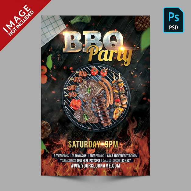 Темный барбекю вечеринка плакат шаблон флаер Premium Psd