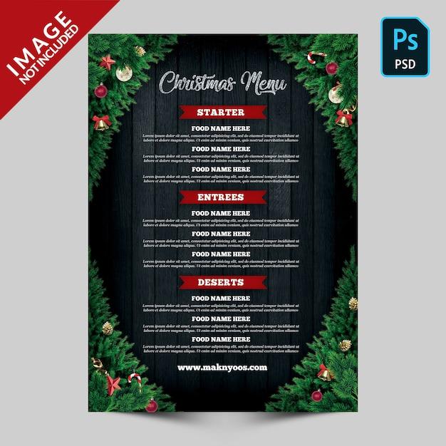 クリスマスメニューの裏面テンプレート Premium Psd