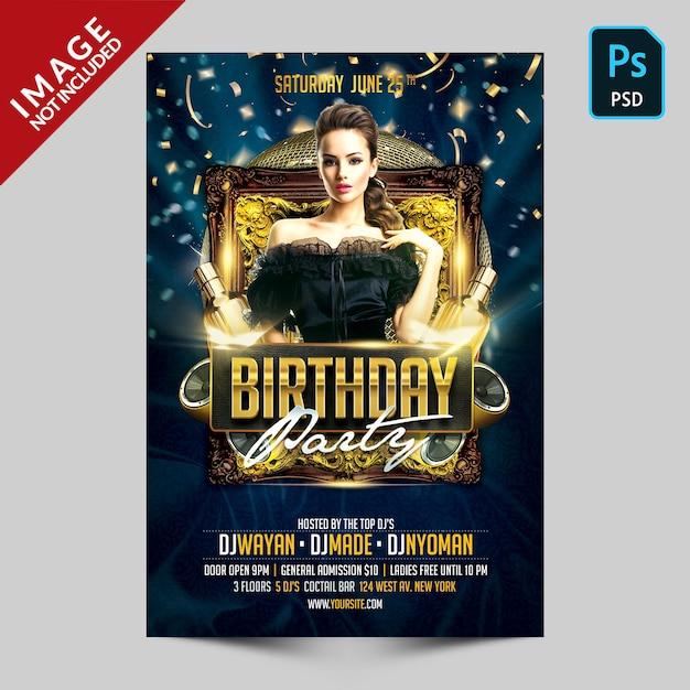 Темно синий день рождения флаер Premium Psd