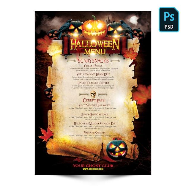 Летчик меню хэллоуина Premium Psd