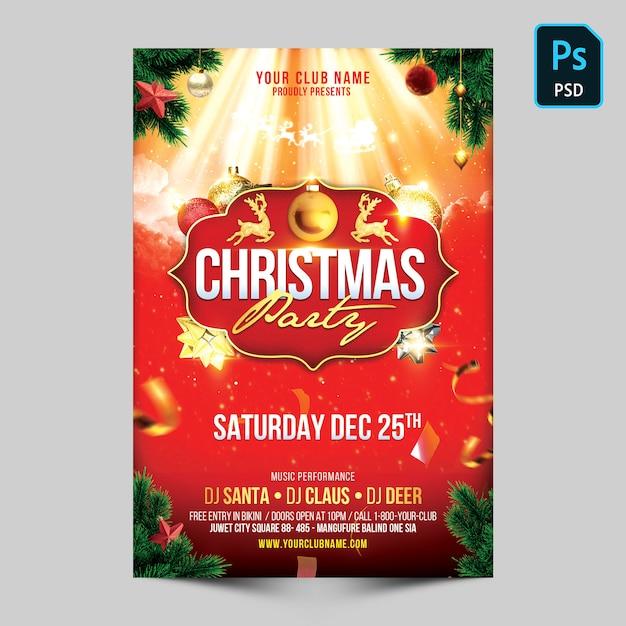 クリスマスパーティーのフライヤー Premium Psd