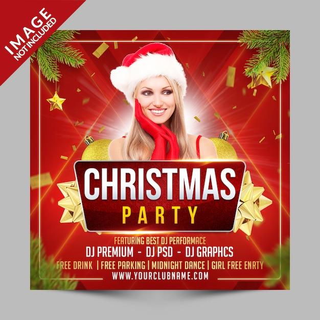 クリスマスパーティーの正方形のポスターやチラシテンプレート、クラブイベントの大日招待 Premium Psd