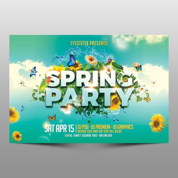 春のパーティー横チラシ Premium Psd