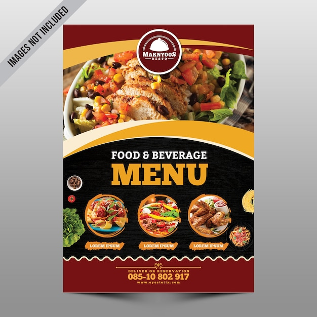 Флаер меню еды Premium Psd