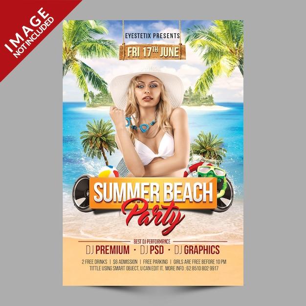 Летняя пляжная вечеринка макет Premium Psd