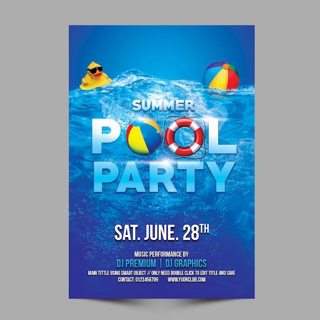 夏のプールパーティーのテンプレート Premium Psd