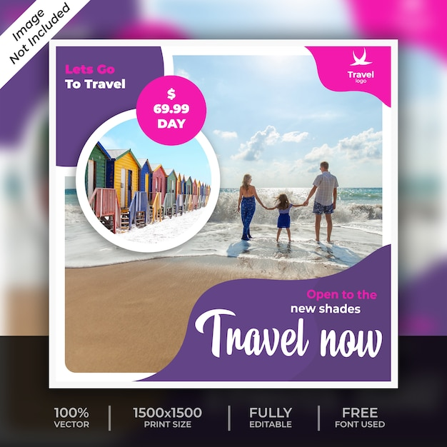旅行ソーシャル投稿テンプレート Premium Psd