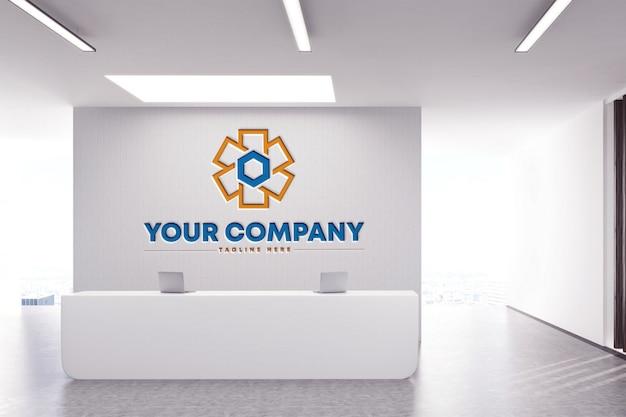 白い背景の上の会社の壁ロゴモックアップ Premium Psd