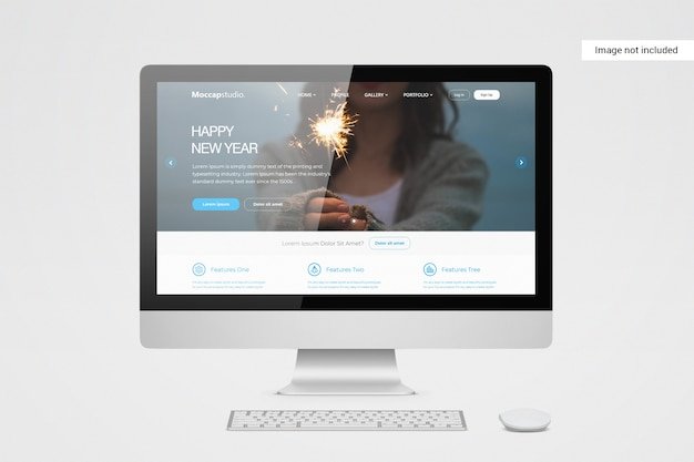 Макет экрана рабочего стола Premium Psd