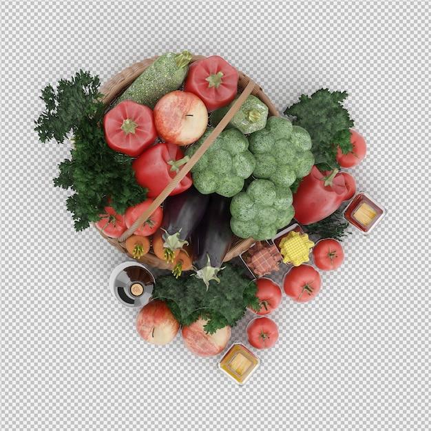 野菜と果物の枝編み細工品バスケットの等尺性バスケット Premium Psd