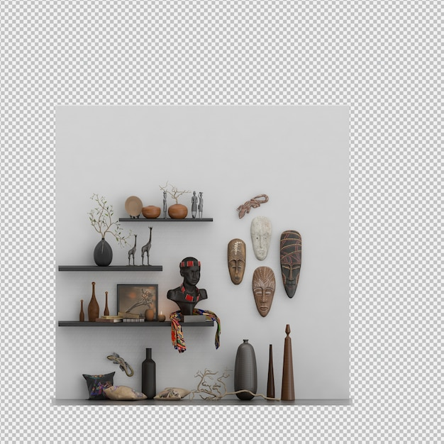 マスクと花瓶の壁 Premium Psd
