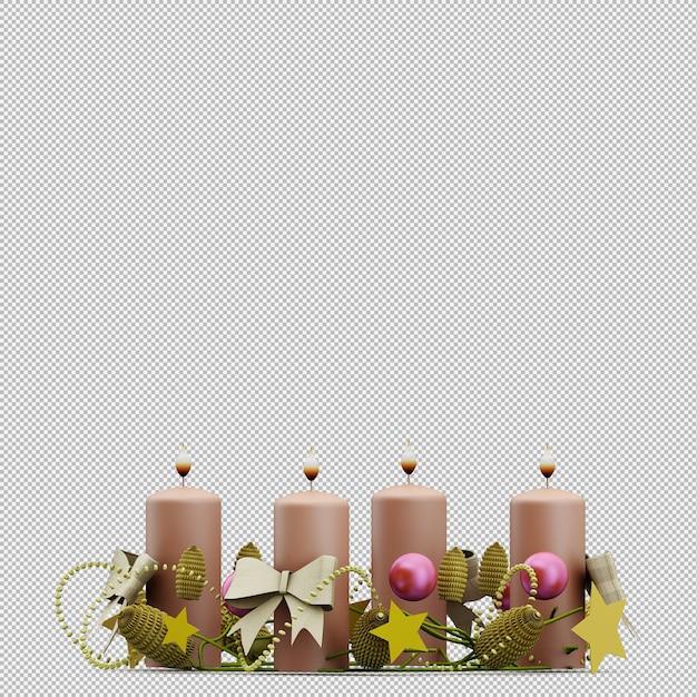 Рождественские свечи Premium Psd