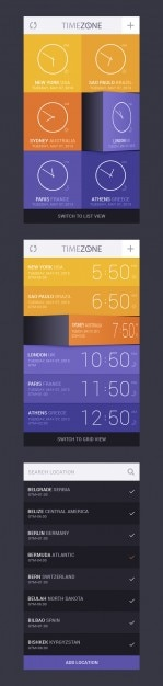 タイマーゾーンコンセプトアプリの設計 無料 Psd