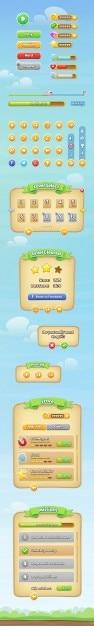 モバイル用のカラフルなゲームのインターフェイス 無料 Psd