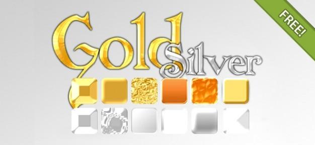 ゴールド&シルバーのエフェクトスタイル 無料 Psd