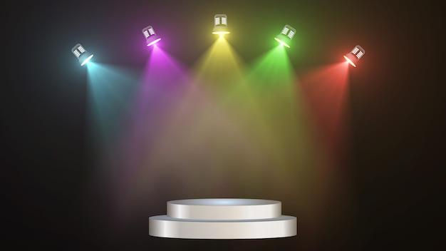 カラフルな照らされたスポットライトと空のステージの概要 Premium Psd