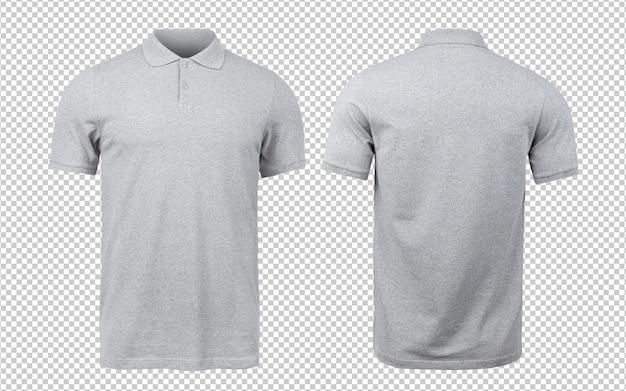 Серый поло макет спереди и сзади. Premium Psd