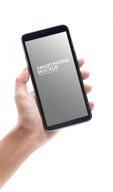 あなたのデザインの黒いスマートフォンモックアップを持つ女性の手。 Premium Psd