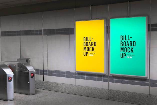 地下鉄や地下鉄の駅でビルボードモックアップ Premium Psd
