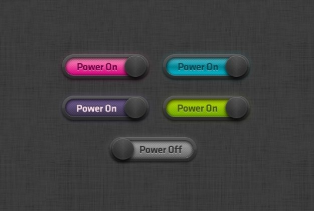 ボタンのオンとオフをカラフル 無料 Psd