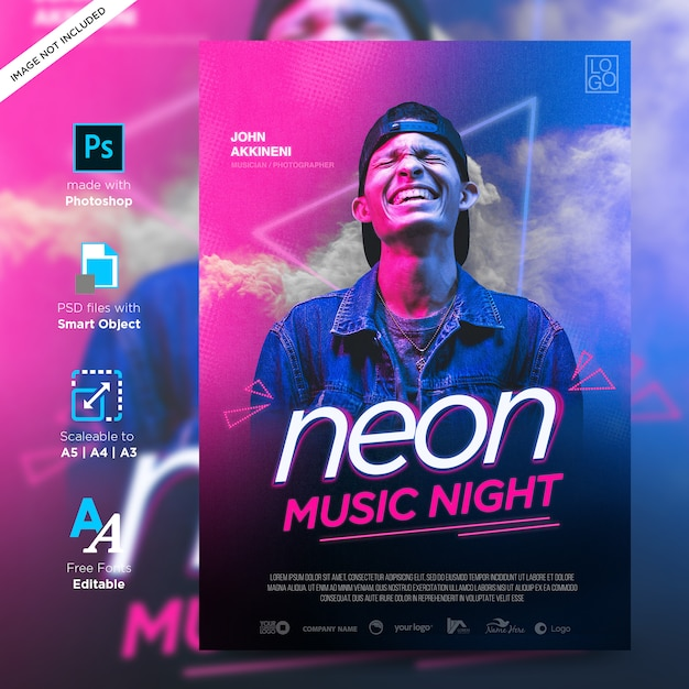 Музыка веселье и модель неоновый флаер креативный дизайн плаката готово к печати Premium Psd