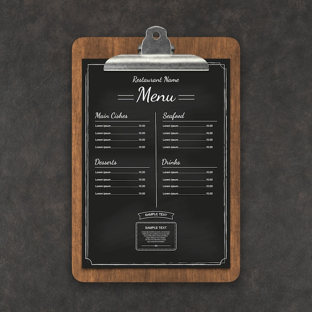 Меню ресторана макет Premium Psd