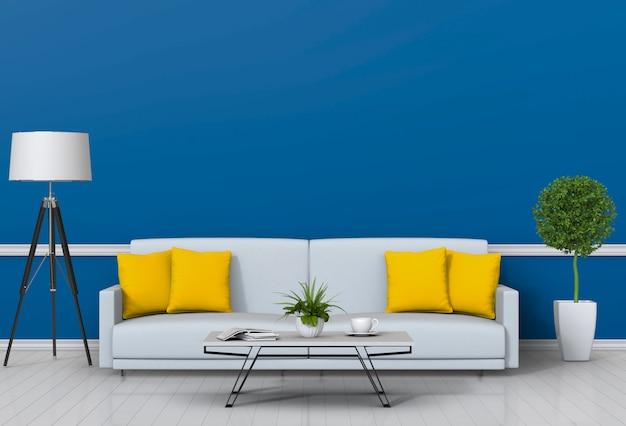 ソファと装飾が施されたモダンなスタイルのリビングルームのインテリア。 Premium Psd