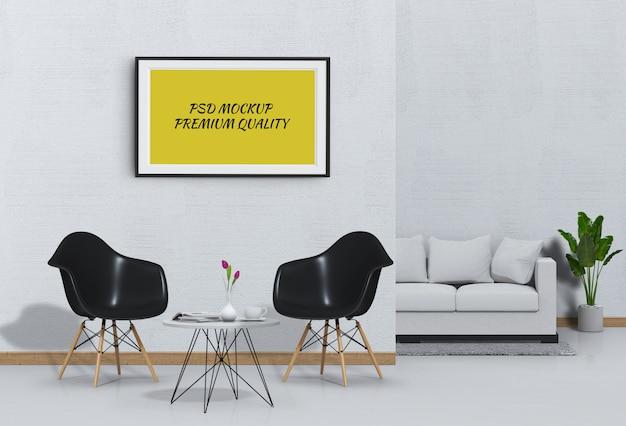 Макет постера в интерьере гостиной с диваном и креслом Premium Psd
