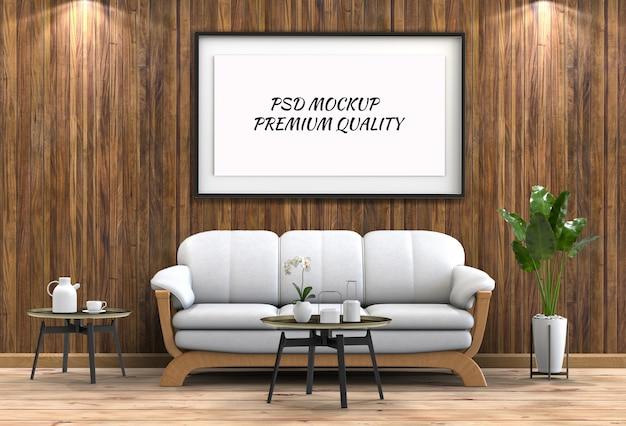 インテリアのリビングルームとソファーでポスターフレームをモックアップ Premium Psd
