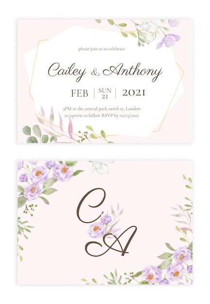 手描きの花の結婚式の招待状 Premium Psd