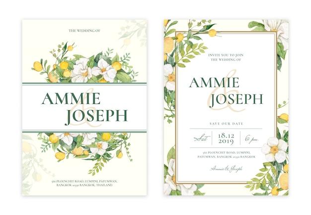 手描きの花の結婚式の招待カード Premium Psd