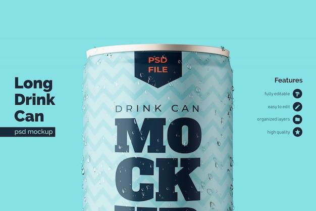 高品質のアルミニウム金属飲料缶の正面図 Premium Psd