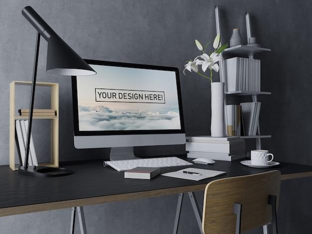 黒のモダンなインテリアワークスペースで編集可能な画面を持つプレミアムデスクトップコンピューターモックアップデザインテンプレート Premium Psd