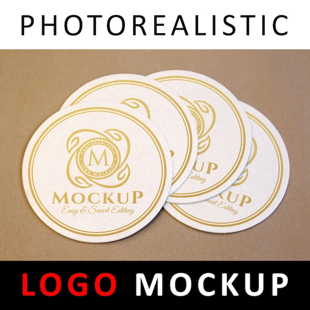 ロゴモックアップ - 円形コースターのゴールデンロゴ Premium Psd