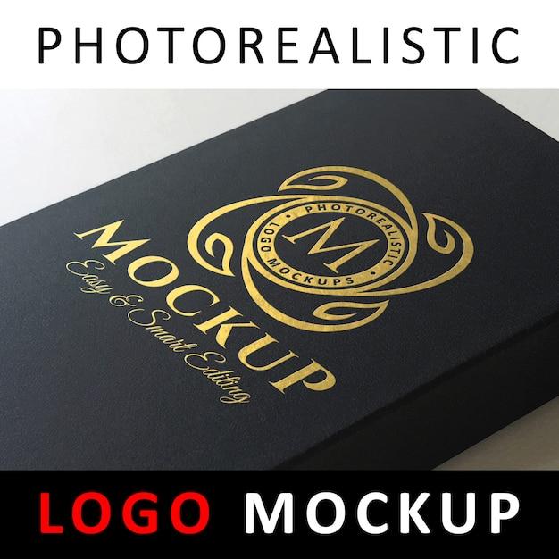 ロゴモックアップ - ブラックカードボックスの黄金箔ロゴ Premium Psd