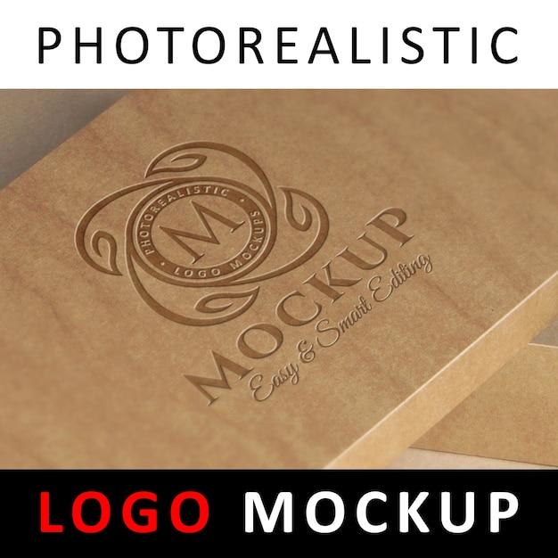 ロゴモックアップ - クラフトボックスに刻印されたロゴ Premium Psd